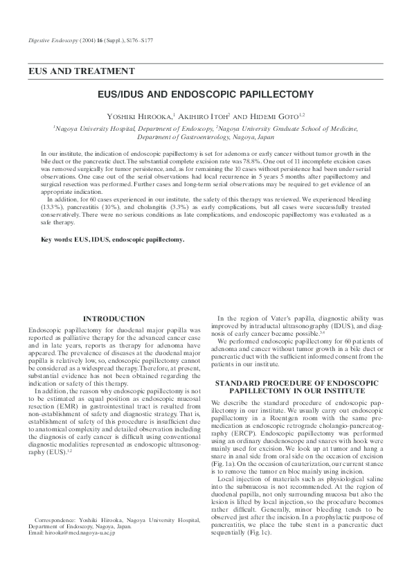 PDF) EUS/IDUS AND ENDOSCOPIC PAPILLECTOMY | Yoshiki Hirooka