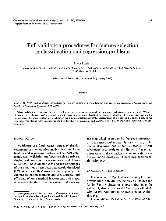 PDF) Full validation procedures for feature selection in