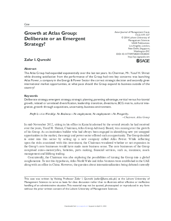 PDF) Growth at Atlas Group: Deliberate or an Emergent