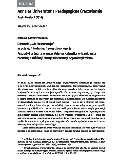 Pdf Ostatnia Wielka Narracja W Polskich Badaniach