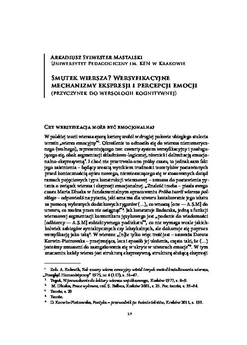 Pdf Smutek Wiersza Wersyfikacyjne Mechanizmy Ekspresji I