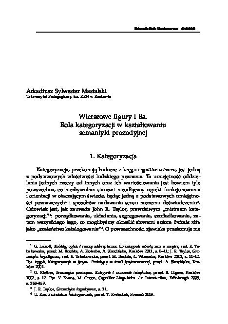 Pdf Wierszowe Figury I Tła Rola Kategoryzacji W