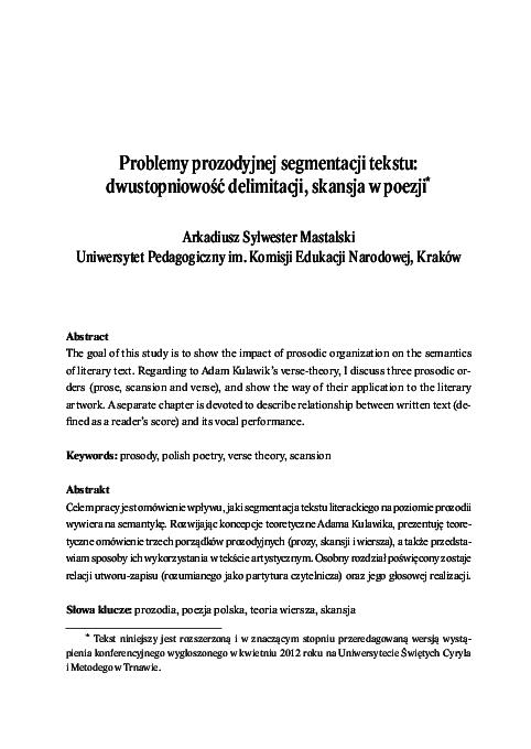 Pdf Problemy Prozodyjnej Segmentacji Tekstu Dwustopniowość