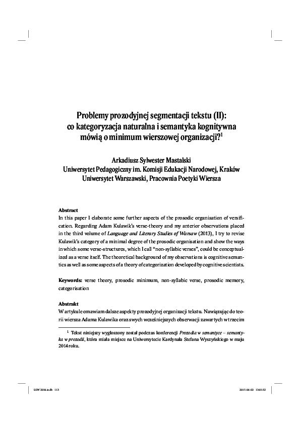 Pdf Problemy Prozodyjnej Segmentacji Tekstu Ii Co