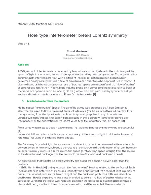 PDF) Hoek type interferometer breaks Lorentz symmetry