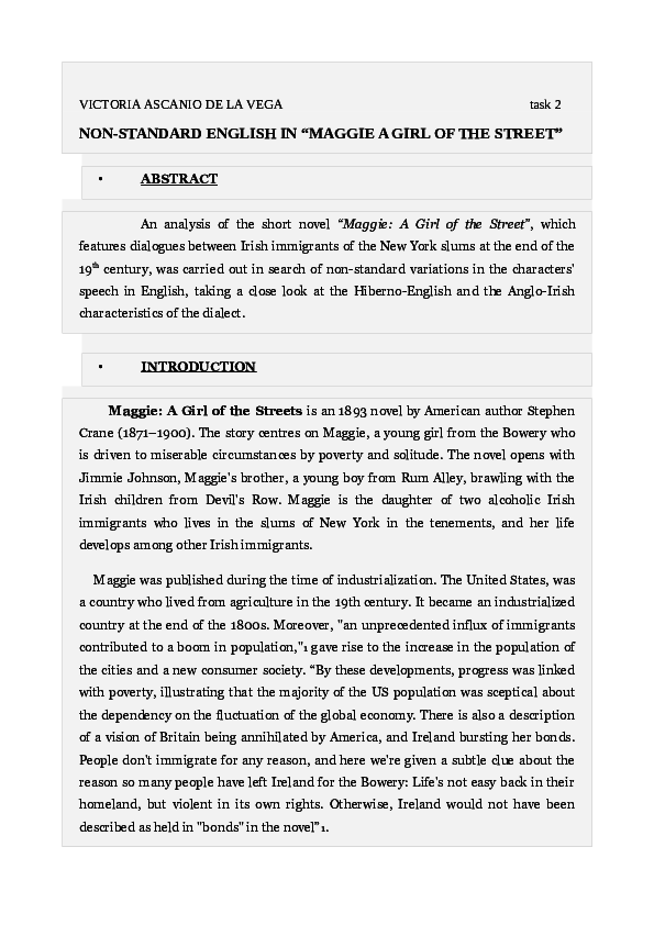 Pdf Non Standard English In Stephen Cranes Maggie A Girl Of The