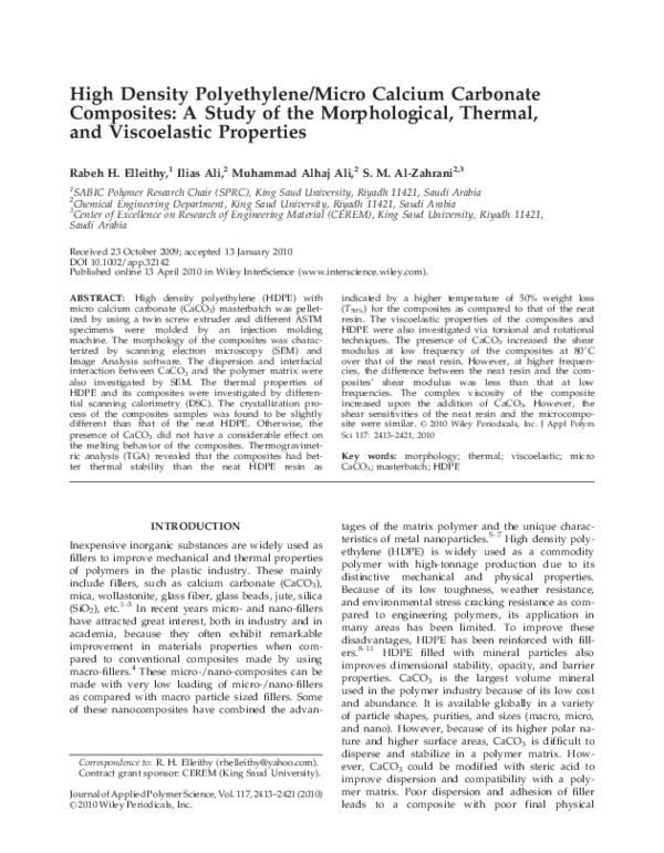 PDF) High Density Polyethylene/Micro Calcium Carbonate