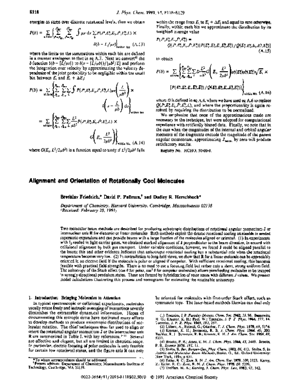 PDF) Alignment and orientation of rotationally cool molecules