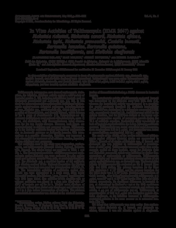PDF) In Vitro Activities of Telithromycin (HMR 3647) against