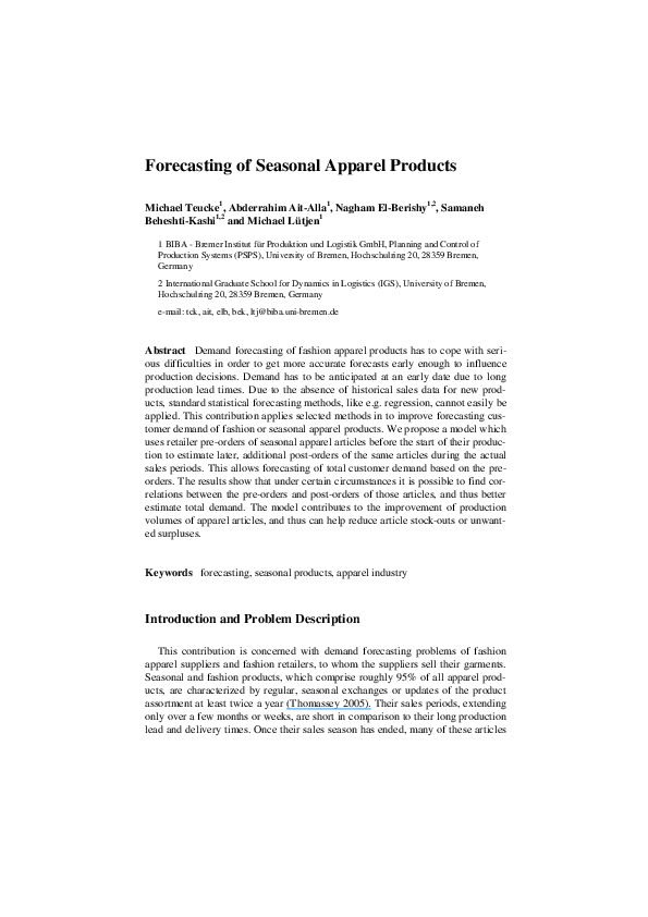 PDF) Forecasting of Seasonal Apparel Products | Abderrahim