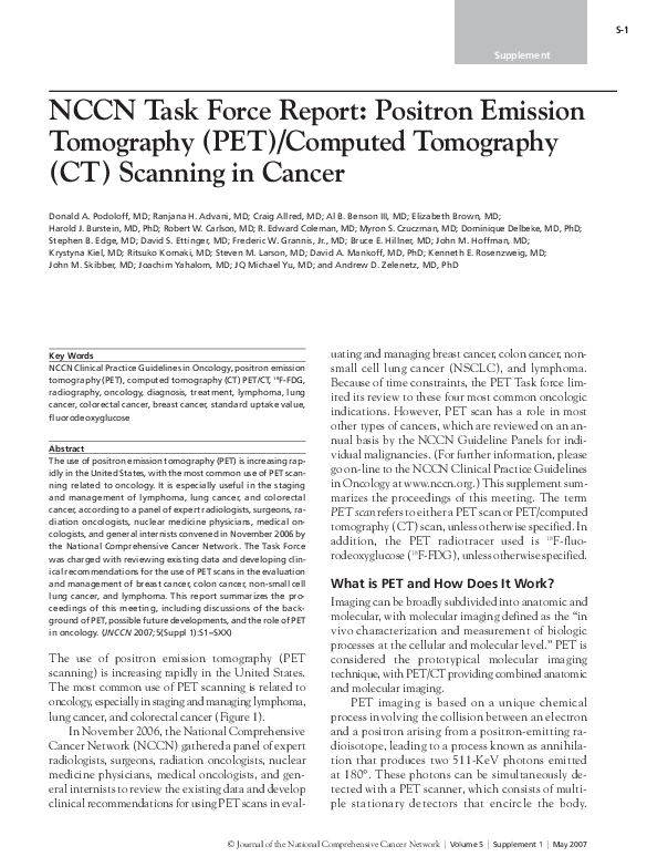 PDF) NCCN task force report: positron emission tomography