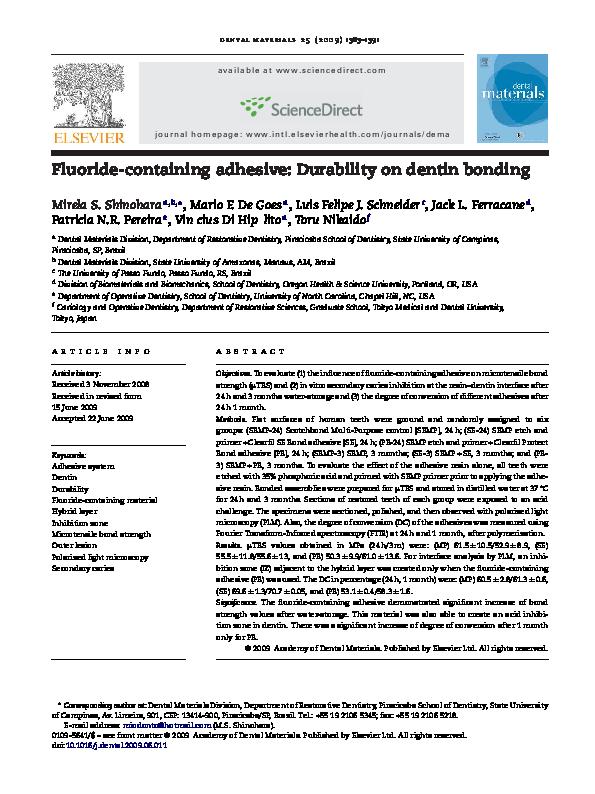 PDF) Fluoride-containing adhesive: Durability on dentin bonding