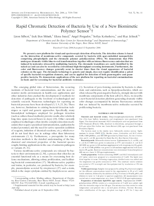 (PDF) Rapid Chromatic Detection of Bacteria by Use of a