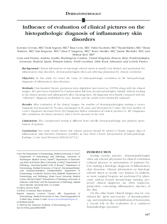 The Value Of Correct Diagnosis >> Influence Of Evaluation Of Clinical Pictures On The Histopathologic