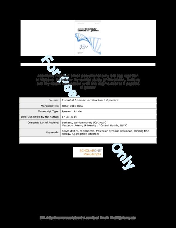 PDF) Atomistic mechanism of polyphenol amyloid aggregation