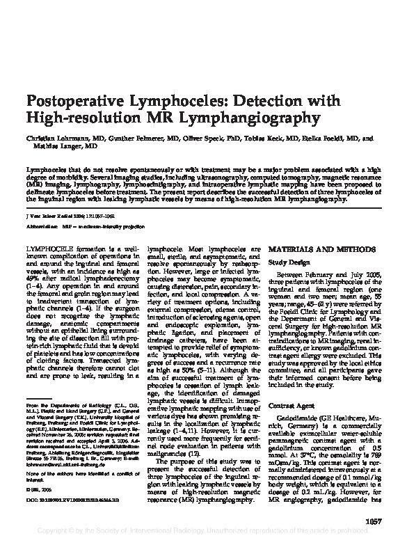 PDF) Postoperative Lymphoceles: Detection with High-resolution MR
