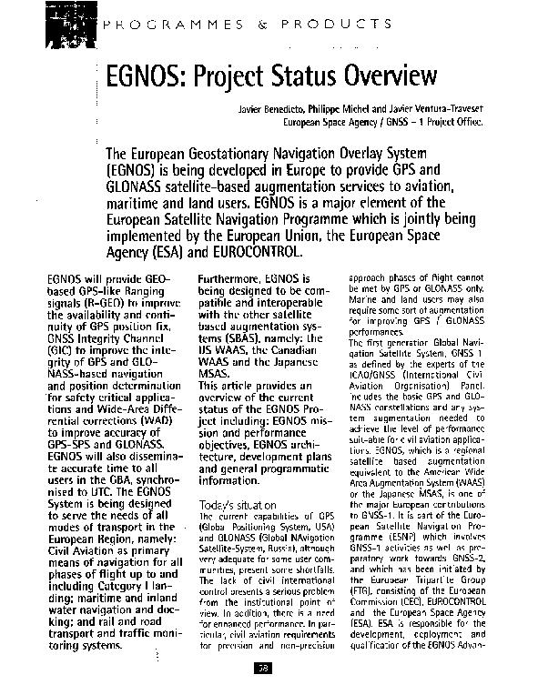 PDF) EGNOS: project status overview | Javier Ventura