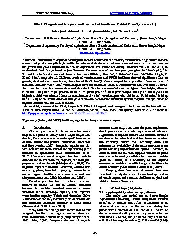 PDF) Effect of Organic and Inorganic Fertilizer on the