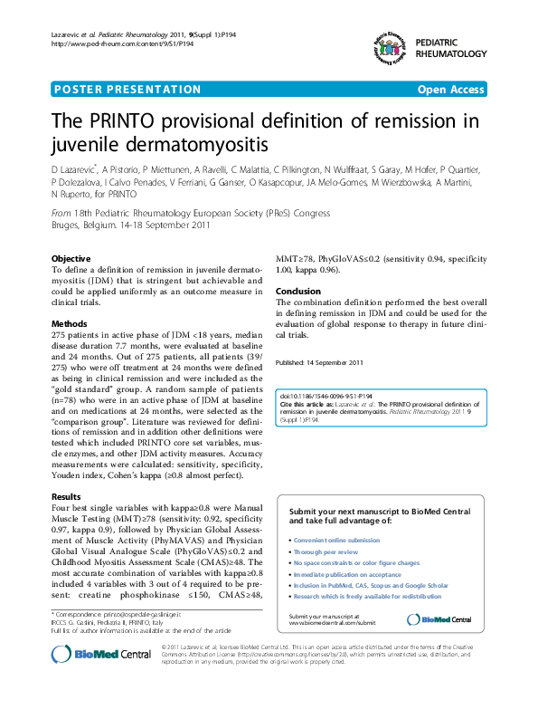 PDF) The PRINTO provisional definition of remission in