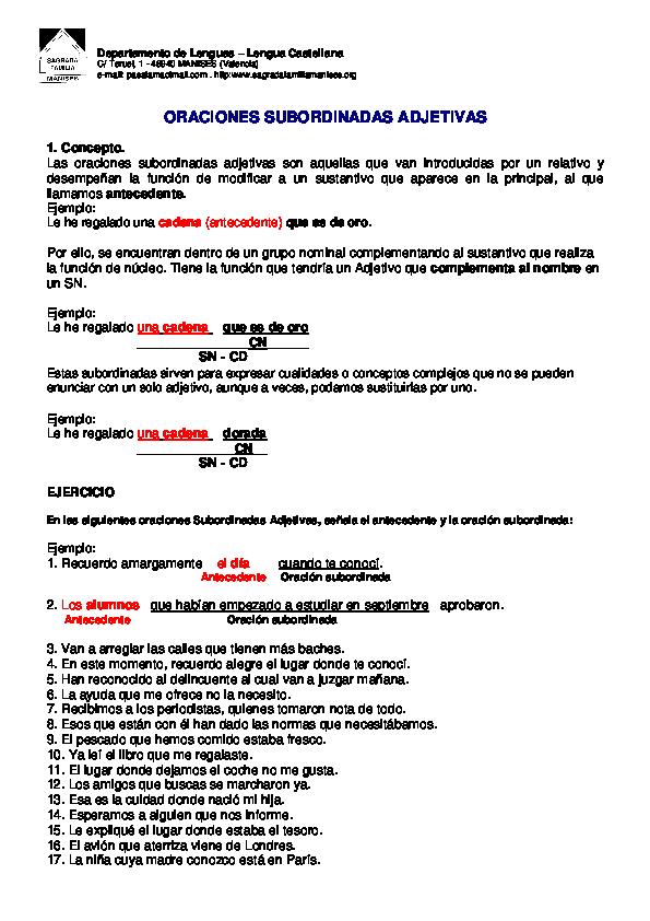 Pdf Departamento De Lenguas Lengua Castellana Oraciones Subordinadas Adjetivas Maria González Merino Academia Edu
