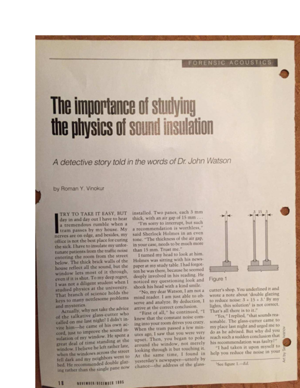 PDF) The importance of studying the physics of sound insulation