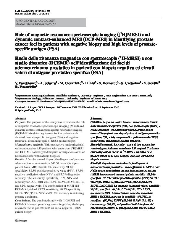spettroscopia prostatica mri