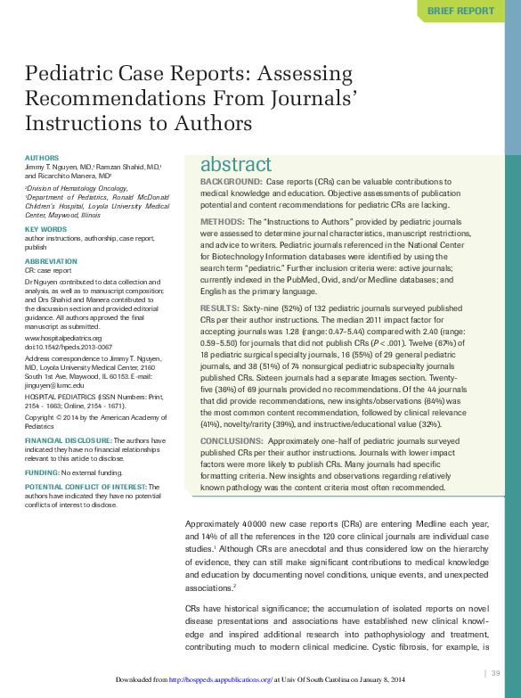 PDF) Pediatric case reports: assessing recommendations from journals