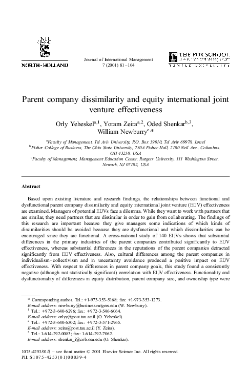 PDF) Parent company dissimilarity and equity international joint