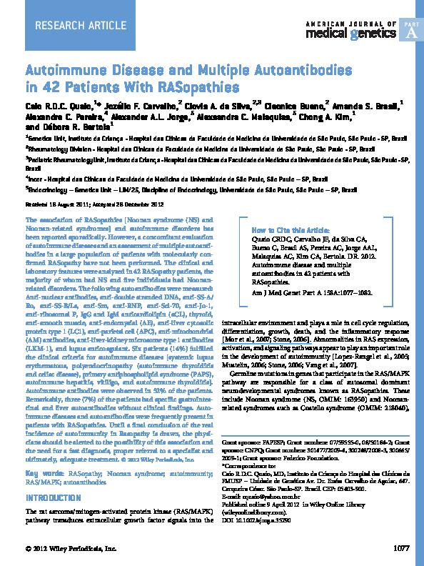 Pdf Autoimmune Disease And Multiple Autoantibodies In 42 Patients With Rasopathies Amanda Brasil And Alexsandra Malaquias Academia Edu