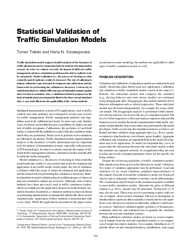 PDF) Statistical validation of traffic simulation models | Tomer
