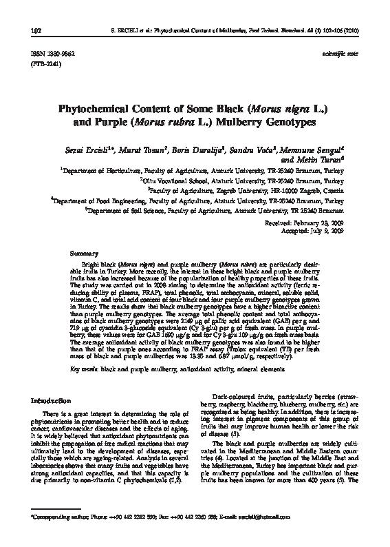 PDF) Phytochemical Content of Some Black (Morus nigra L