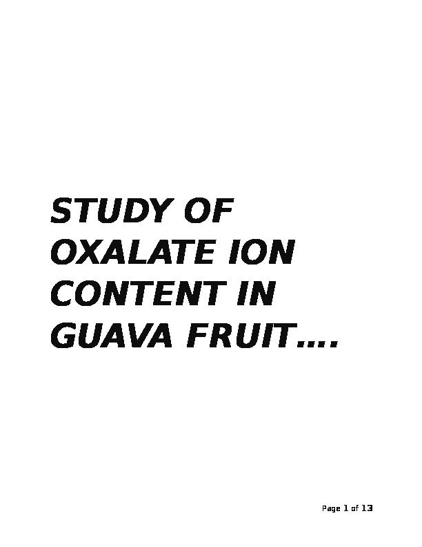 oxalate ion in guava wikipedia