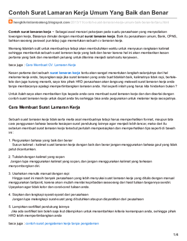 Pdf Surat Lamaran Kerja Umum Cara Madia Academiaedu