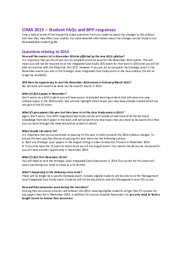 PDF) CIMA 2015 – Student FAQs and BPP responses | Shahradzi Ramli