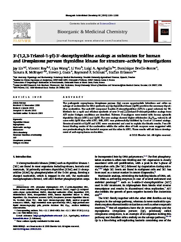 PDF) 3′-(1,2,3-Triazol-1-yl)-3′-deoxythymidine analogs as