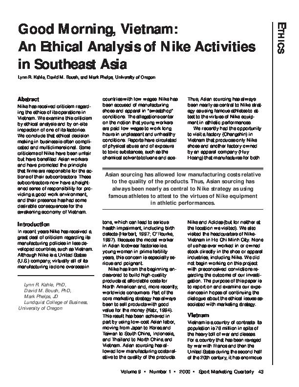 PDF) Good morning, Vietnam: an ethical analysis of Nike