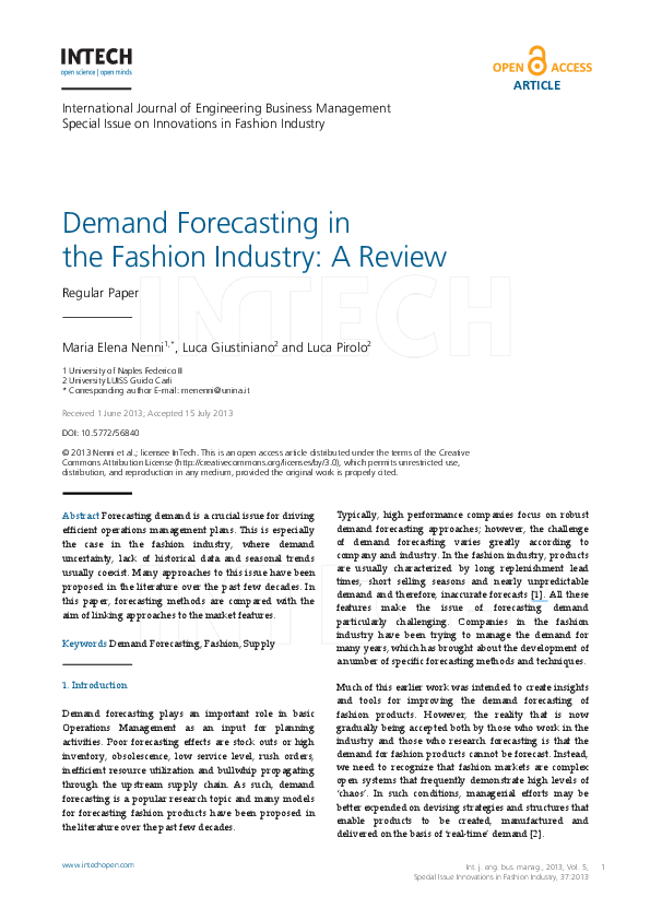 PDF) Demand Forecasting in the Fashion Industry: A Review | Luca