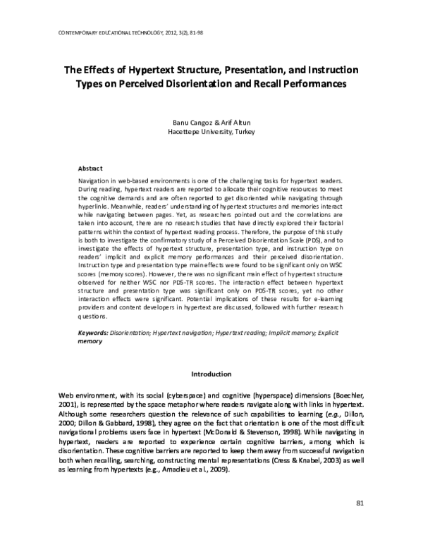 PDF) The Effects of Hypertext Structure, Presentation and