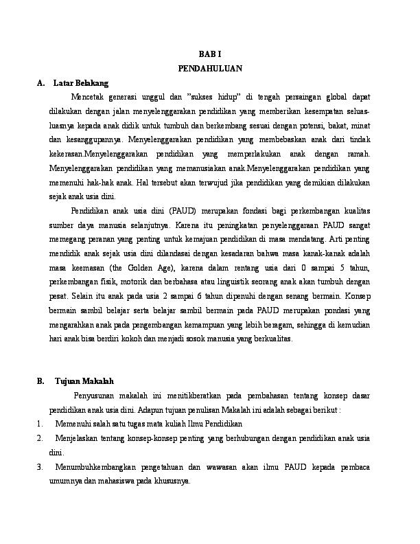Doc Makalah Pendidikan Anak Usia Dini Rustam Majid Academia Edu
