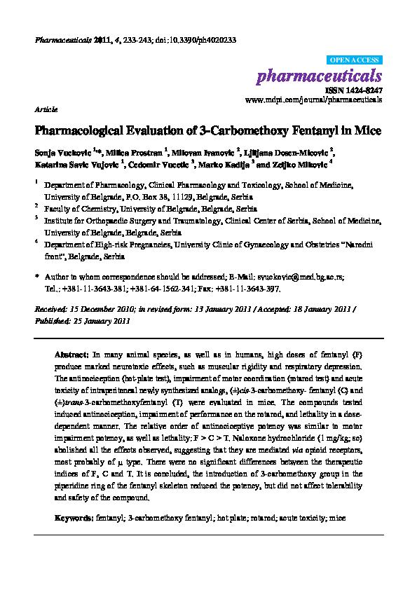 PDF) Pharmacological Evaluation of 3-Carbomethoxy Fentanyl