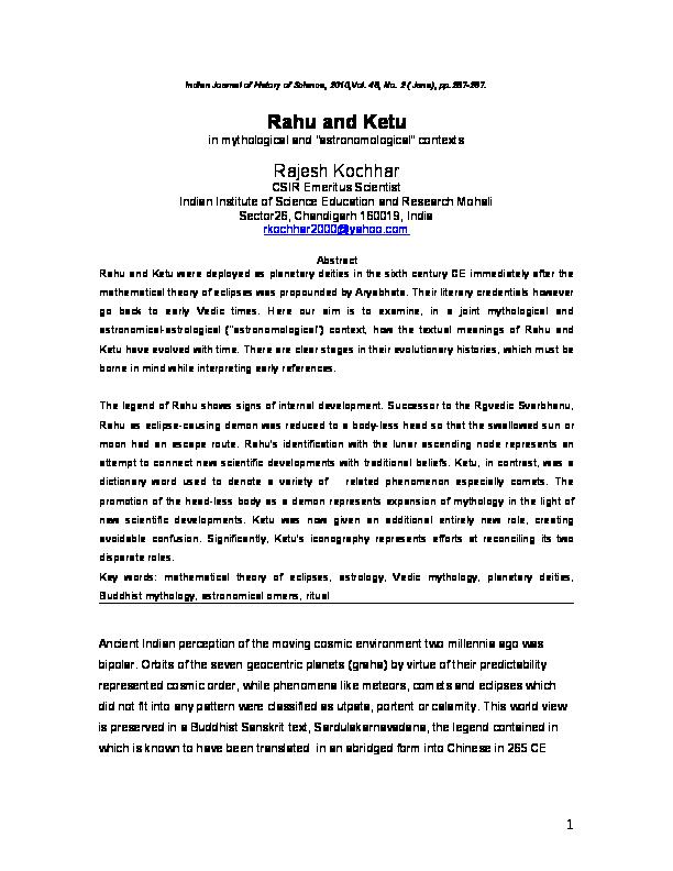 "DOC) Rahu and Ketu in mythological and ""astronomological"