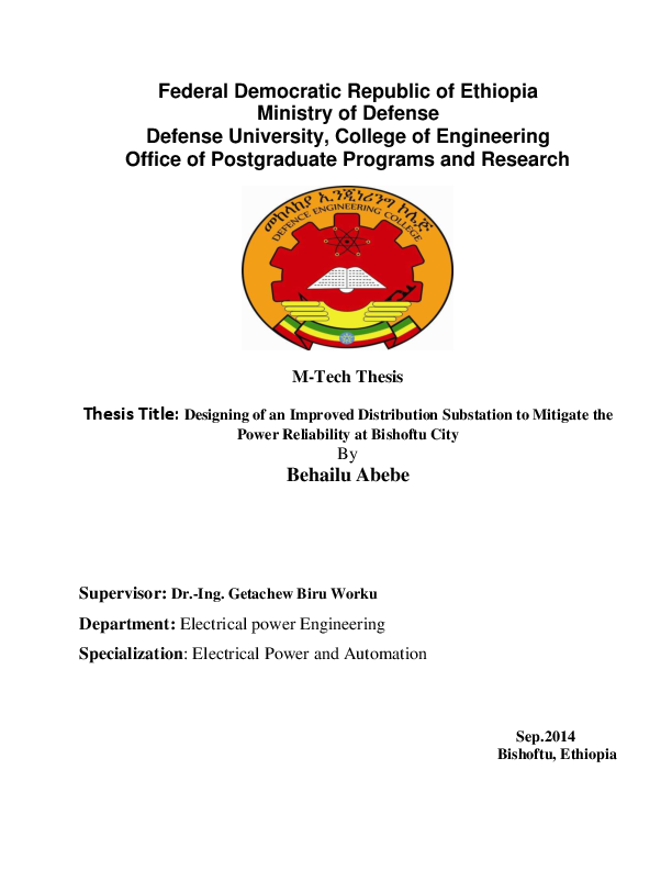 PDF) Thesis Title: Designing of an Improved Distribution Substation