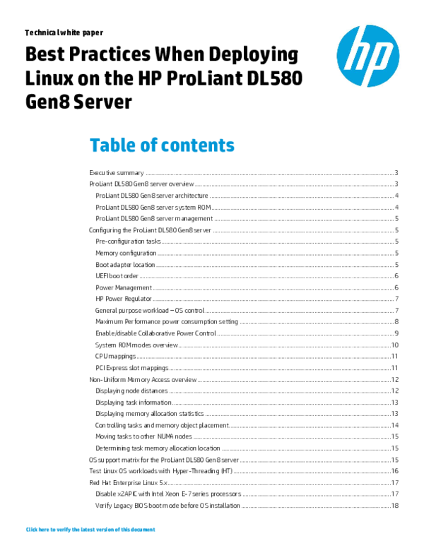 PDF) Best Practices When Deploying Linux on the HP ProLiant