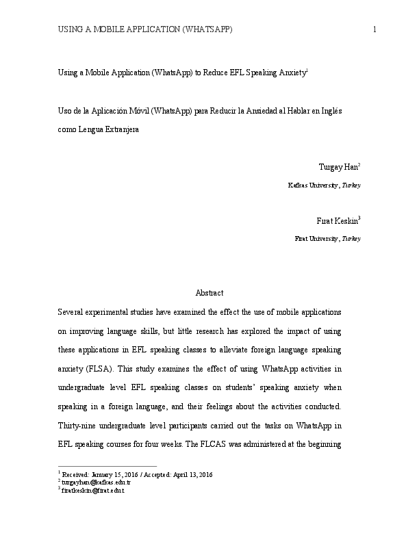 PDF) USING A MOBILE APPLICATION (WHATSAPP) TO REDUCE EFL SPEAKING