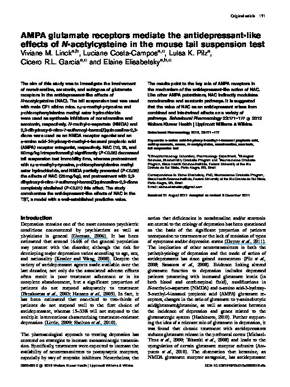 PDF) AMPA glutamate receptors mediate the antidepressant