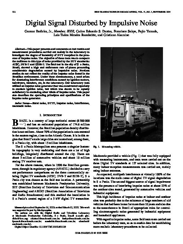 PDF) Digital Signal Disturbed by Impulsive Noise | Gunnar