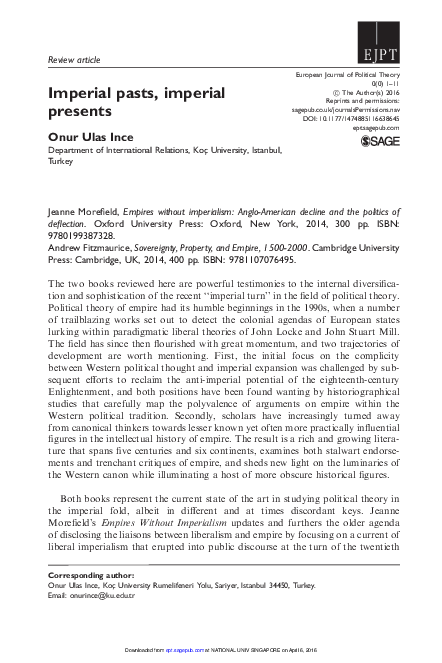 Pdf Imperial Pasts Imperial Presents Review Article European Journal Of Political Theory April 7 2016 Onur Ulas Ince Academia Edu
