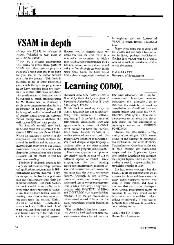 PDF) Advanced structured COBOL: COBOL book 4 | Greg