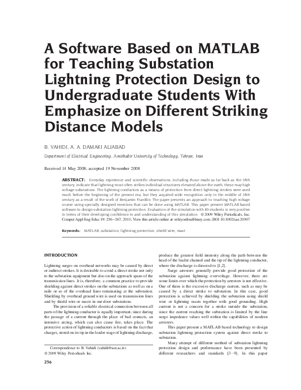 Pdf A Software Based On Matlab For Teaching Substation Lightning Protection Design To Undergraduate Students With Emphasize On Different Striking Distance Models Behrooz Vahidi Academia Edu