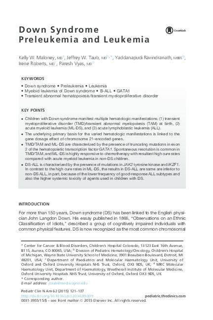 acute megakaryoblastic leukemia down syndrome